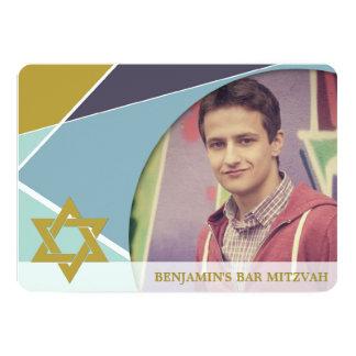 "Bar Mitzvah Star Of David Geometric Photo Invite 5"" X 7"" Invitation Card"