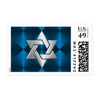 Bar Mitzvah Star on Abstract Blue Postage Stamps