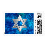 Bar Mitzvah Star on Abstract Blue Postage