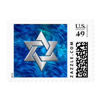 Bar Mitzvah Star on Abstract Blue Postage Stamp