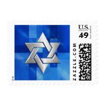 Bar Mitzvah Star on Abstract Blue Stamp