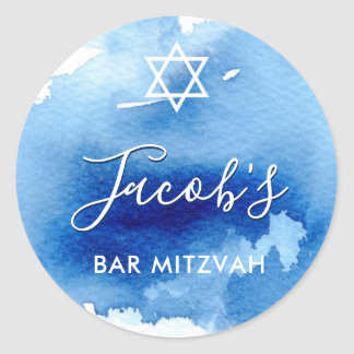 BAR MITZVAH star smart blue watercolor invite Classic Round Sticker
