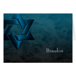 Bar Mitzvah Stylish Teal Blue Star of David Ombre Card