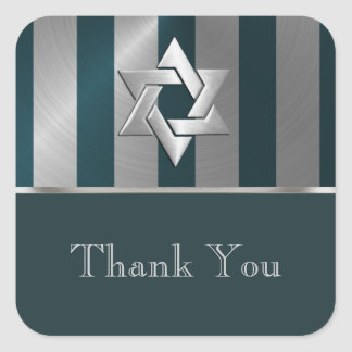 Bar Mitzvah Teal and Silver Stripe Star of David Square Sticker