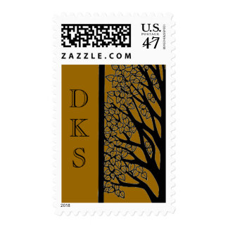 Bar Mitzvah Tree of Life in Brown with Initials Postage