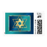 Bar Mitzvah Turquoise and Blue Star of David Stamps