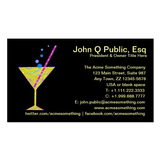 Bar mixologist party planner business cards zazzle for Party planner business cards