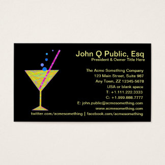 Bar Mixologist Party Planner Business Cards