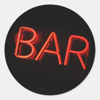 Bar Neon Sign Round Stickers
