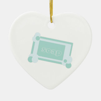 Bar Of Soap Double-Sided Heart Ceramic Christmas Ornament