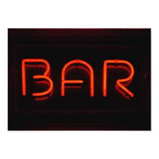 BAR Red Neon Sign Card