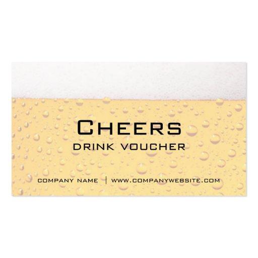 Bar, Restaurant or Brewery Drink Vouchers Business Card Templates