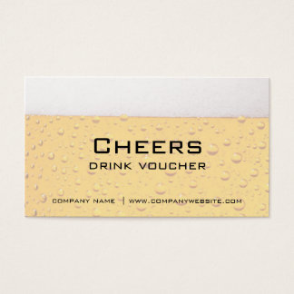 Bar, Restaurant or Brewery Drink Vouchers Business Card