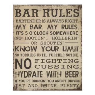 Bar Rules Poster