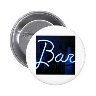 bar sign , blue neon light 2 inch round button