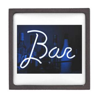 bar sign , blue neon light jewelry box