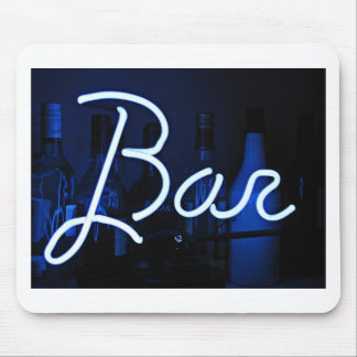 bar sign , blue neon light mouse pad