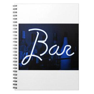 bar sign , blue neon light notebook