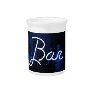 bar sign , blue neon light pitchers