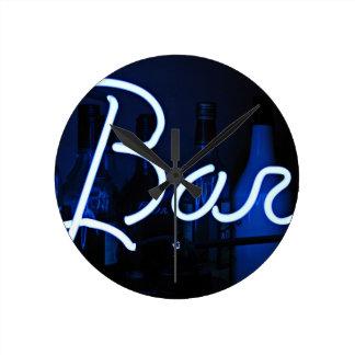 bar sign , blue neon light round clock