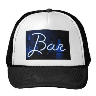 bar sign , blue neon light trucker hat