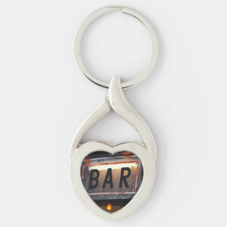 Bar Sign Silver-Colored Heart-Shaped Metal Keychain