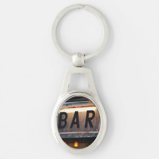 Bar Sign Silver-Colored Oval Metal Keychain