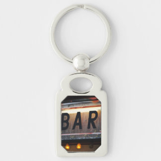 Bar Sign Silver-Colored Rectangular Metal Keychain