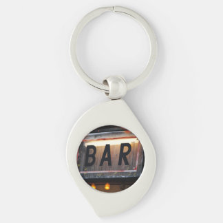 Bar Sign Silver-Colored Swirl Metal Keychain