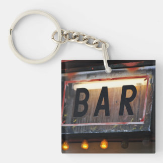 Bar Sign Single-Sided Square Acrylic Keychain
