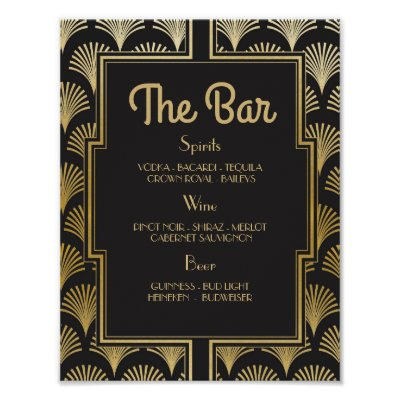 Bar Sign Wedding Reception 1920s Twenties Art Deco
