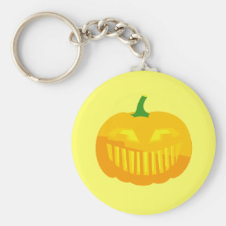 Bar Teeth Jack-O-'Lantern Basic Round Button Keychain