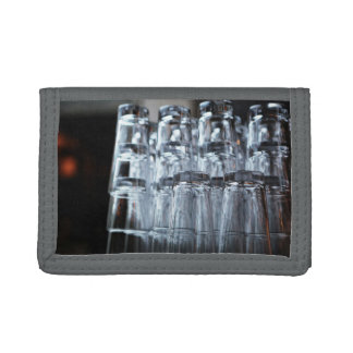 Bar Themed, Neatly Ordered Pile Of Bar Glasses Loo Tri-fold Wallet