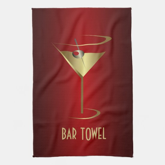 Bar Towel Red and Gold Martini Glass