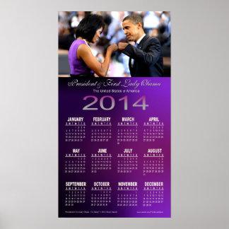 Barack 2014 y calendario del topetón del puño de M Póster