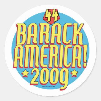 Barack America 2009 Political Super Hero Gear Classic Round Sticker
