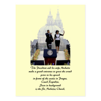 Barack and Michelle in Prague Postcard