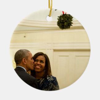 Barack and Michelle Mistletoe - Rd Ornament