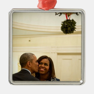 Barack and Michelle Mistletoe - Sq. Ornament