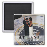 Barack and Michelle Obama Dancing Inaugural Ball 2 Inch Square Magnet