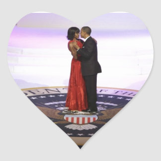 Barack and Michelle Obama Heart Sticker