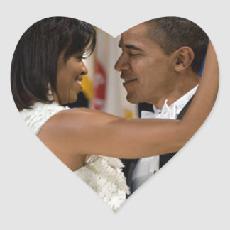 Barack and Michelle Obama Heart Sticker