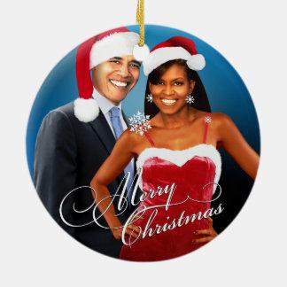 Barack and Michelle Santa Christmas Ceramic Ornament