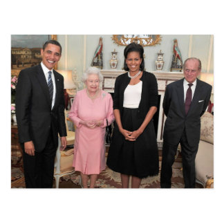 Barack and Michelle with Queen Elizabeth Postcard