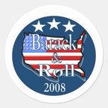 barack and roll round sticker