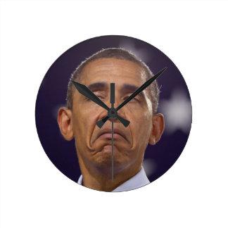 """Barack Around the Clock-frowning"" Round Clock"