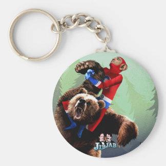 Barack fights a bear basic round button keychain