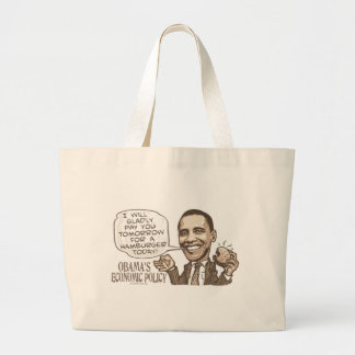 Barack Hamburger Eating  Anti-Obama Gear Large Tote Bag