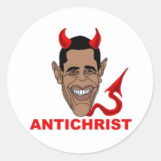 Barack Hussein Obama: AntiChrist Classic Round Sticker