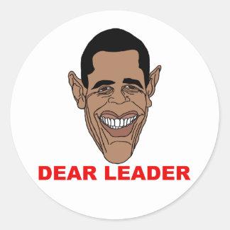 Barack Hussein Obama: Dear Leader Classic Round Sticker